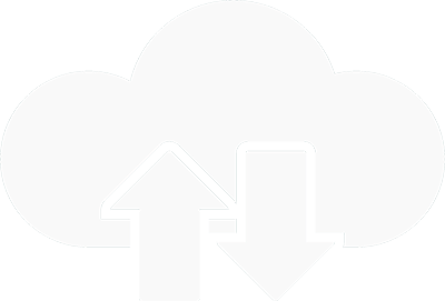 Vitt moln med pilar som symboliserar en synkroniserad backup.