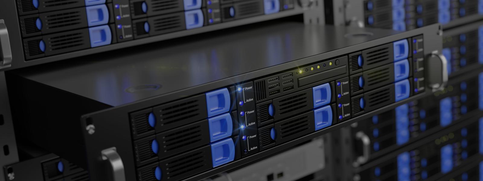 En dedikerad server i ett datacenter, med hög prestanda och säkerhet.