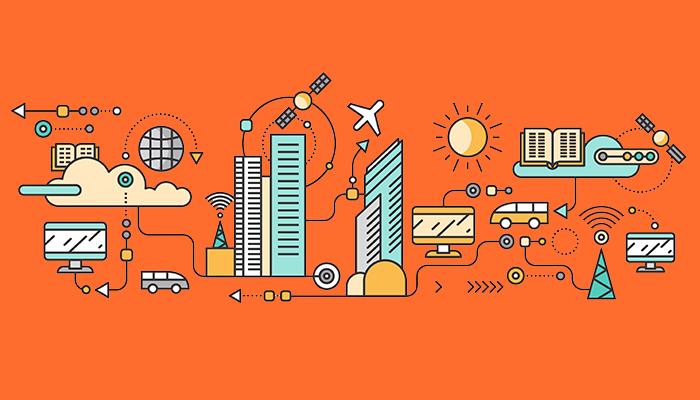 En modern stad med smarta och effektiva IT-lösningar