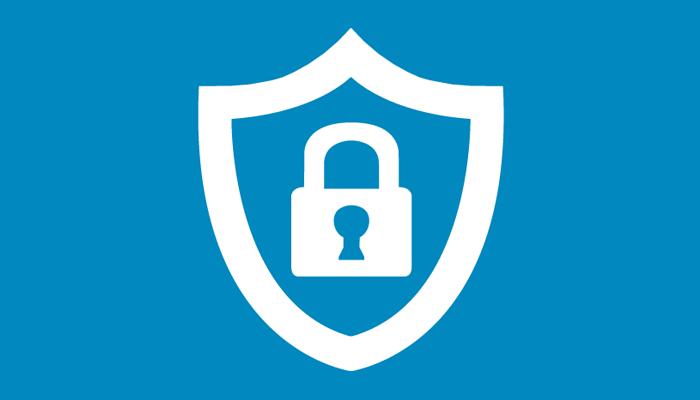 IT-säkerhet, vit sköld med ett hänglås inuti, på en blå bakgrund