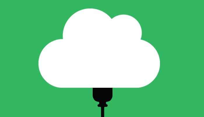 Bilden för SKALAB Backup, ett vitt moln på en grön bakgrund.
